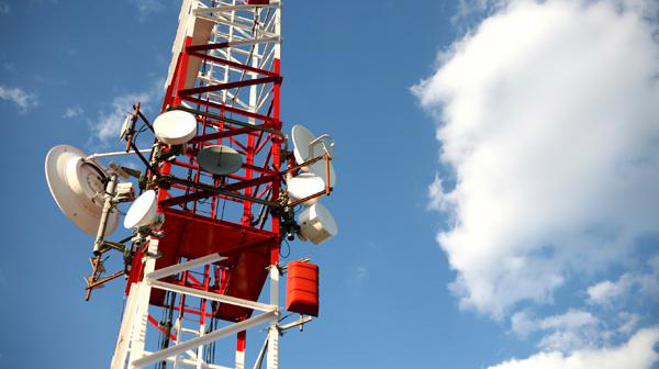 Telekommunikation Mast Himmel Rot Weiss