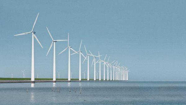 Windindustrie Windraeder Meer Wasser